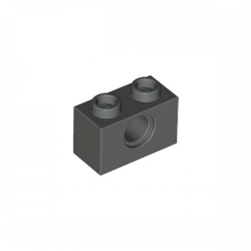 Technic Brick 1X2, Ø4.9 Dark Gray