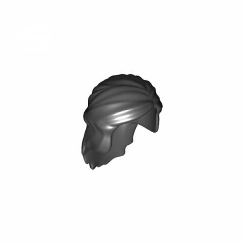 Minifigure, Hair Female Mid-Length with Braid around Sides Black